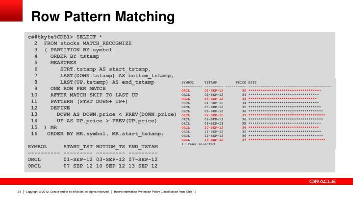Row Pattern Matching