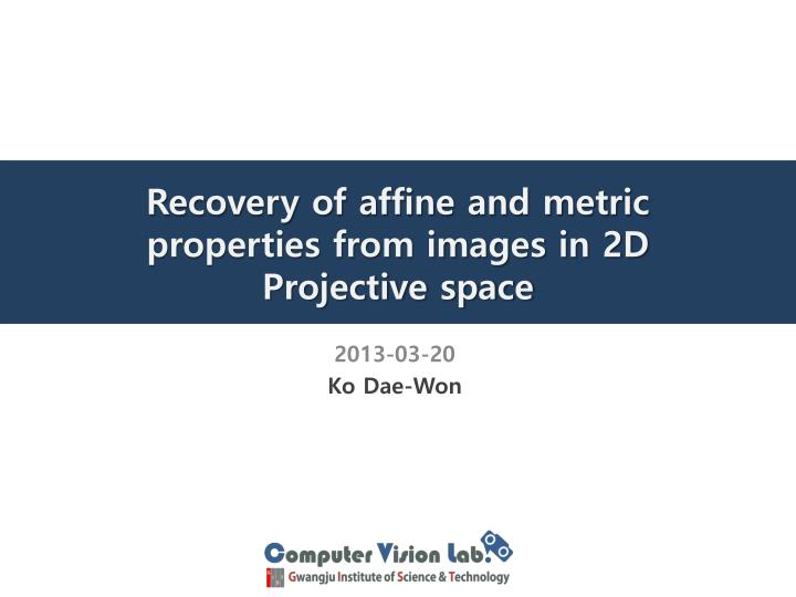 recovery of affine and metric properties from images in 2d projective space