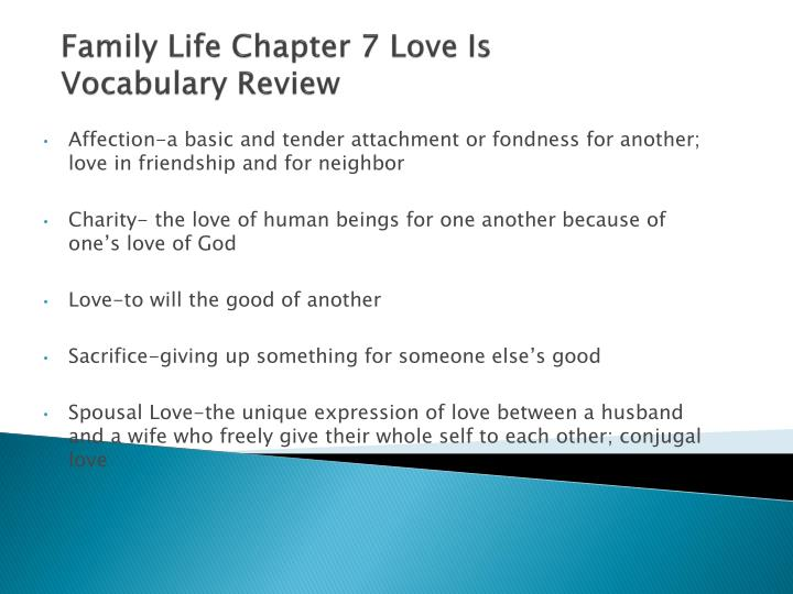 Family life chapter 7 love is vocabulary review