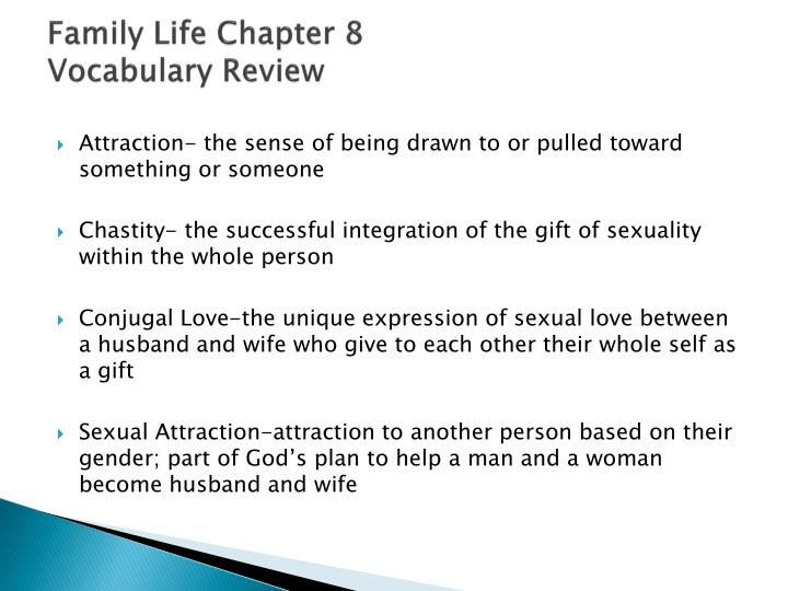 Family life chapter 8 vocabulary review