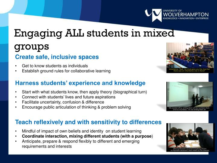 Engaging ALL students in mixed groups