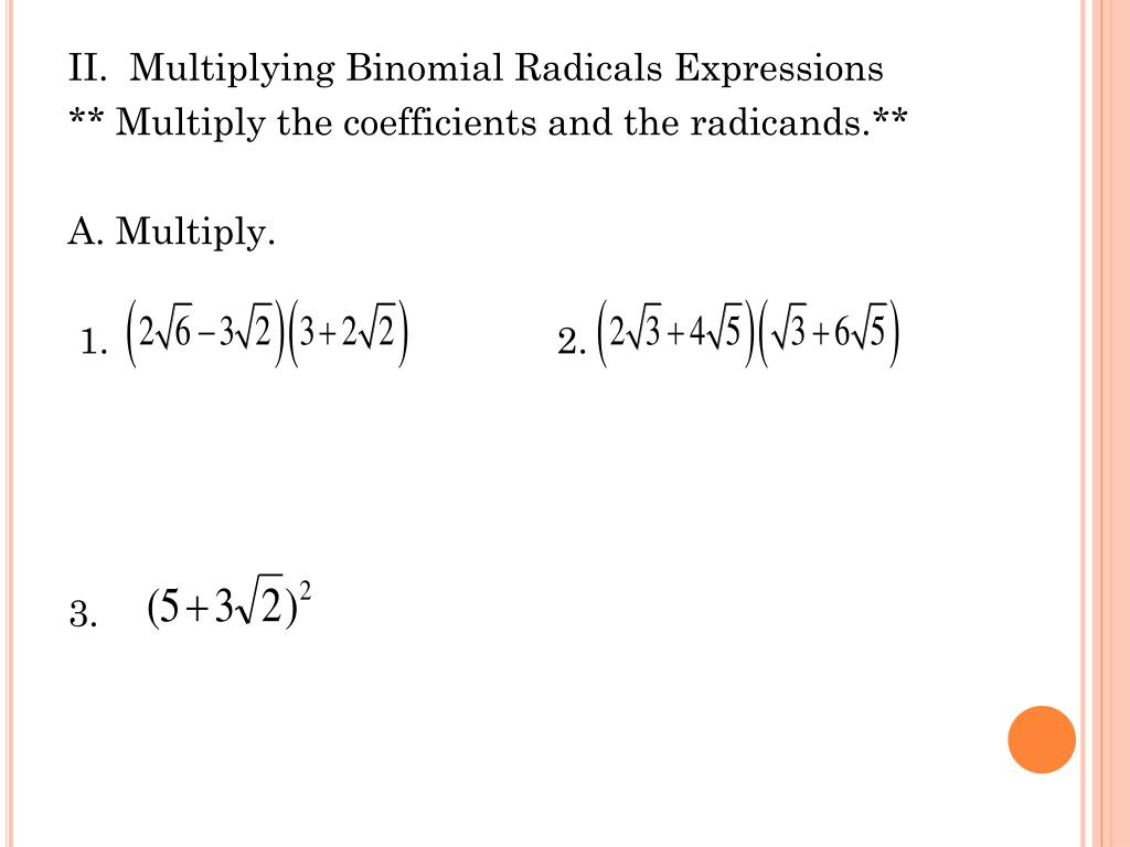 PPT - 6.3 Binomial Radical Expressions PowerPoint