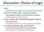 discussion choice of logic