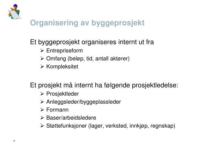Organisering av byggeprosjekt
