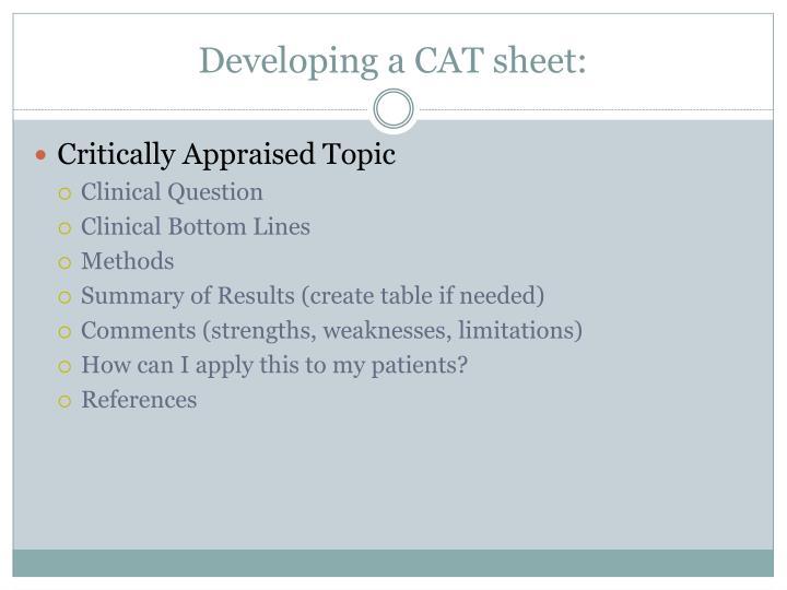 Developing a CAT sheet: