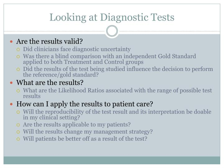Looking at Diagnostic Tests