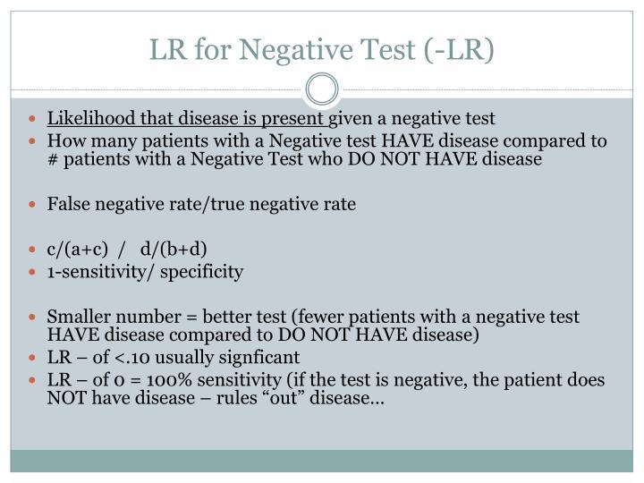 LR for Negative Test (-LR)