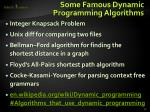 some famous dynamic programming algorithms