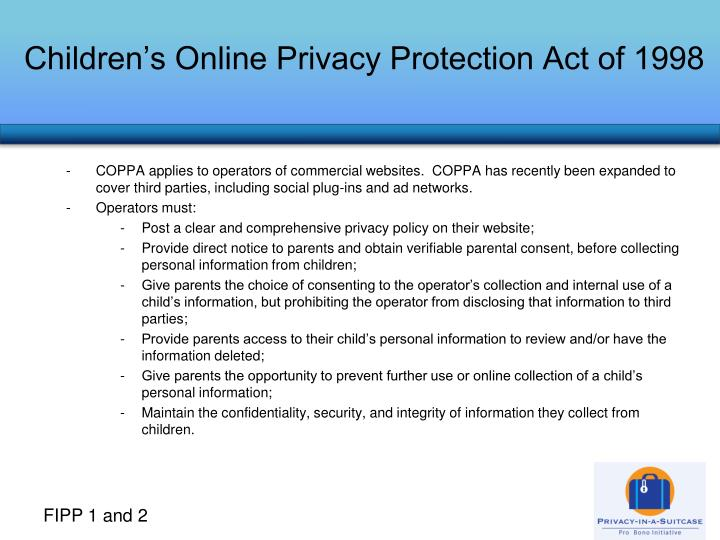 Children s online privacy protection act of 1998
