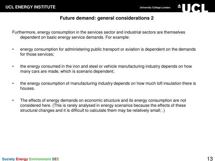 Future demand: general