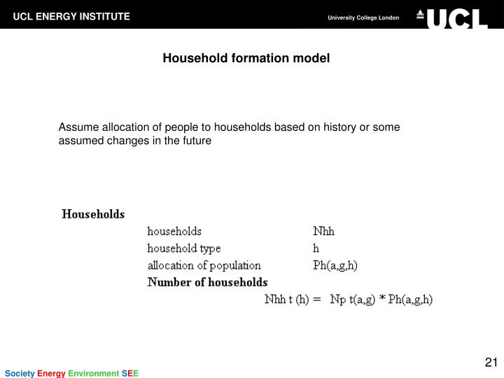 Household formation model
