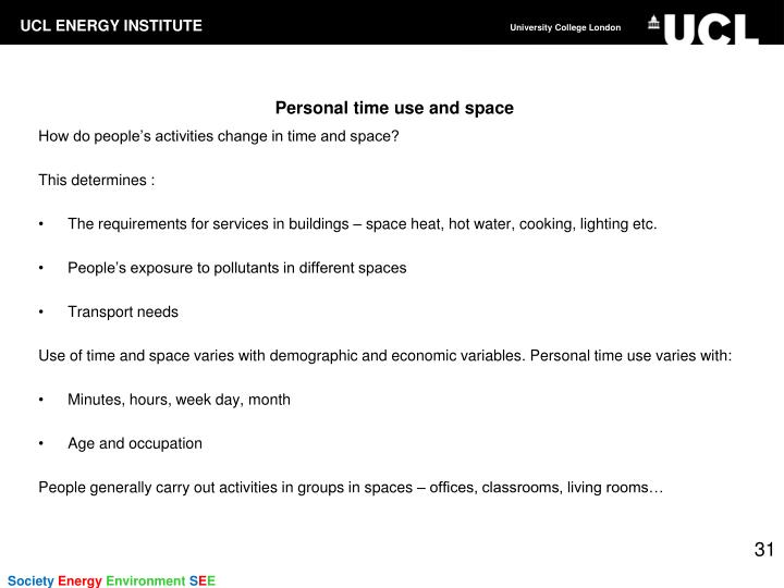 Personal time use and space