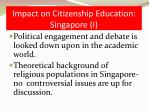 impact on citizenship education singapore i