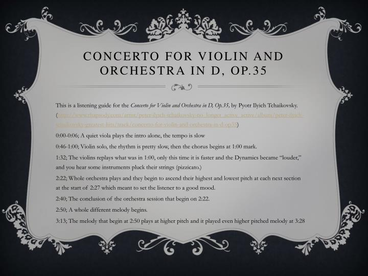 Concerto for Violin and Orchestra in D, Op.35