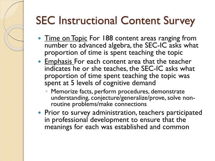 SEC Instructional Content Survey