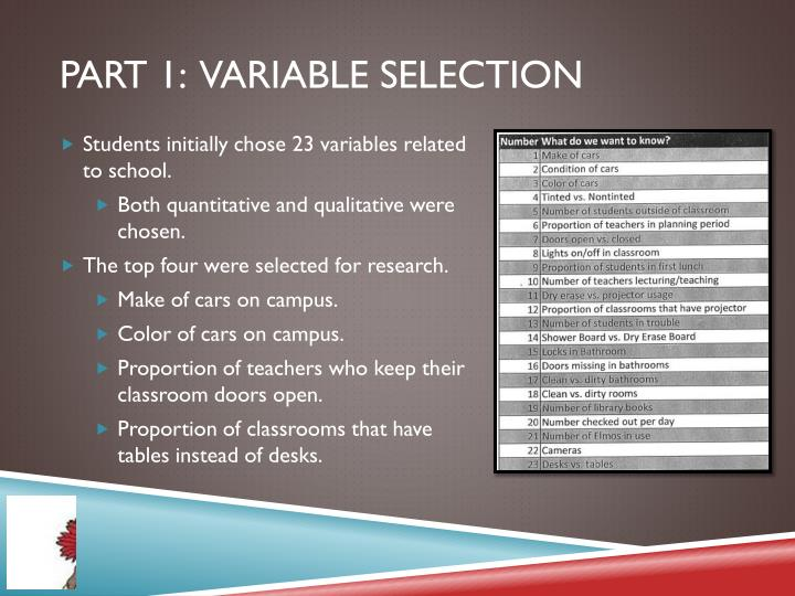 part 1:  Variable Selection