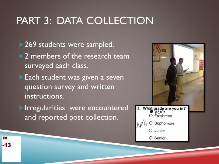 Part 3:  Data Collection