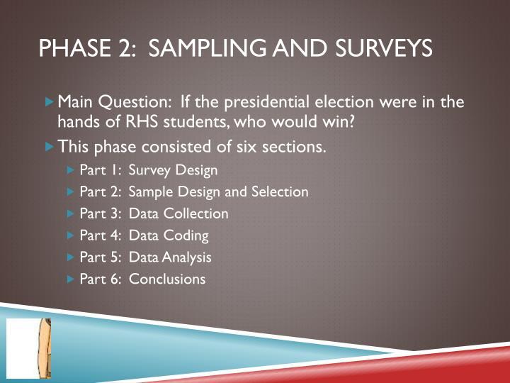 Phase 2:  Sampling and surveys