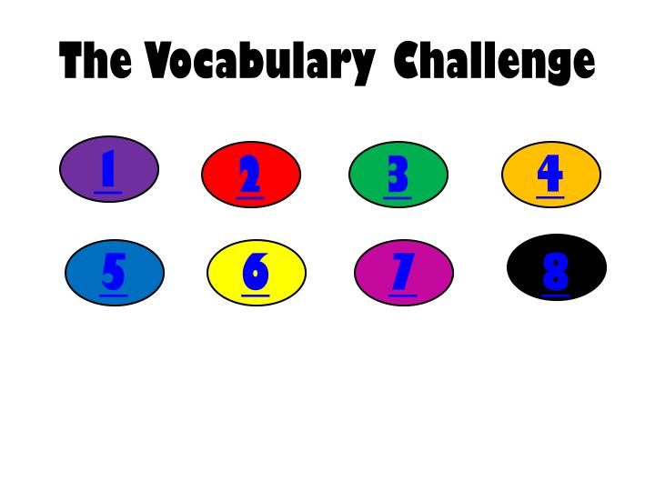 The vocabulary challenge