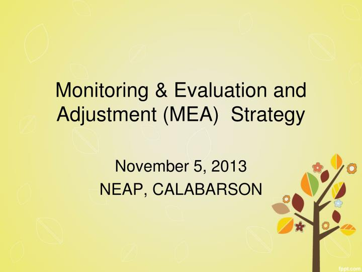 monitoring evaluation and adjustment mea strategy n.