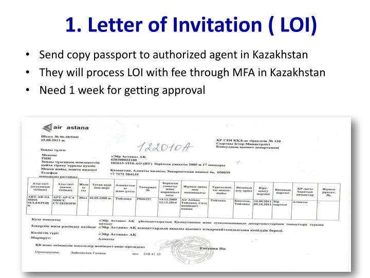Ppt how to apply kazakhstan visa powerpoint presentation id2839423 letter of invitation loi stopboris Image collections