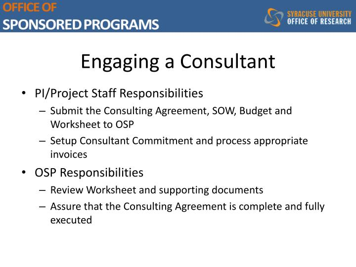 Engaging a Consultant