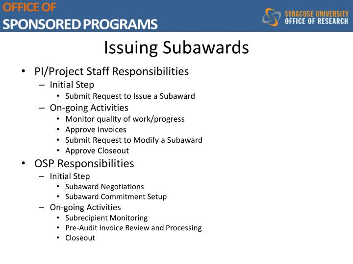 Issuing Subawards