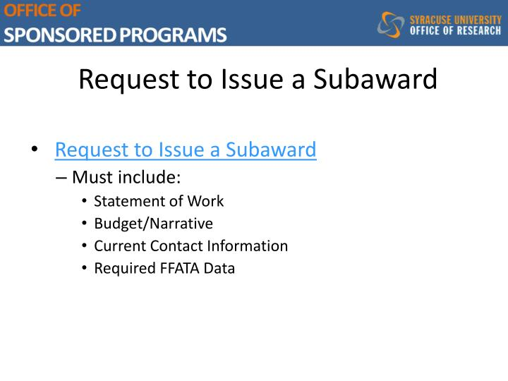 Request to Issue a Subaward