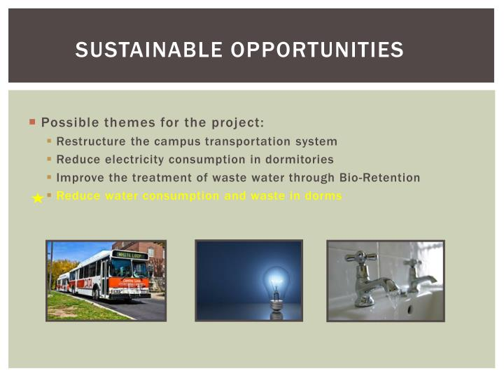 Sustainable opportunities
