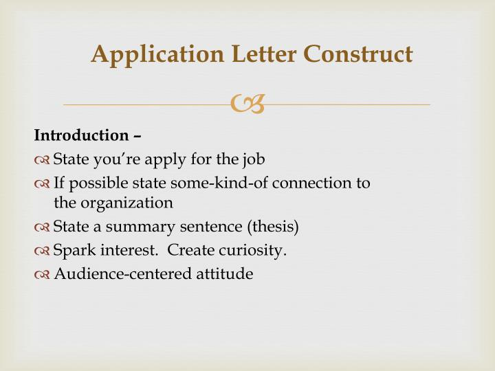 Ppt Basic Application Letter Construct 5 Paragraph Letter Format
