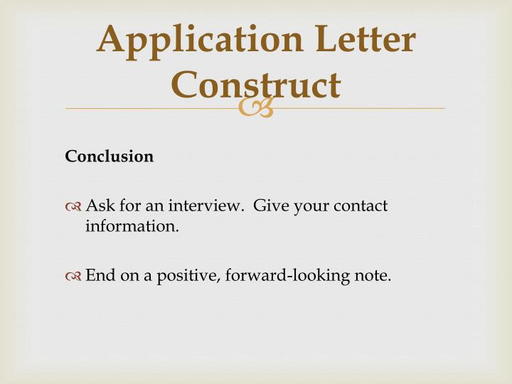 Application Letter Construct