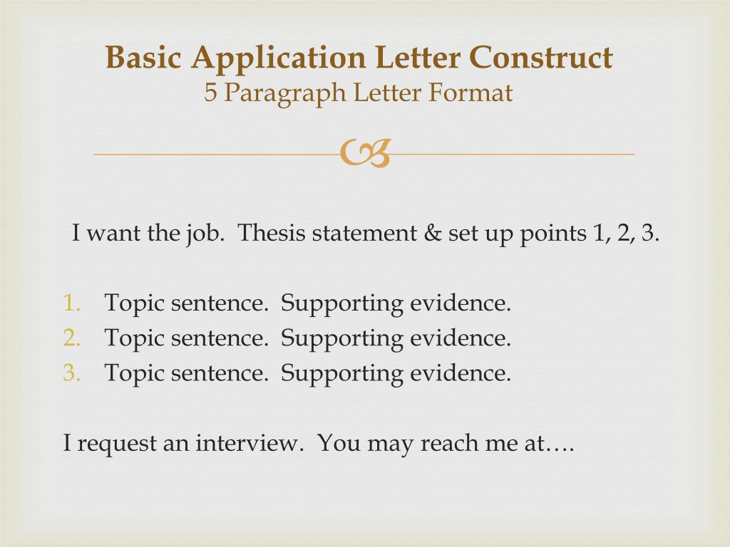 basic application letter construct 5 paragraph letter format n