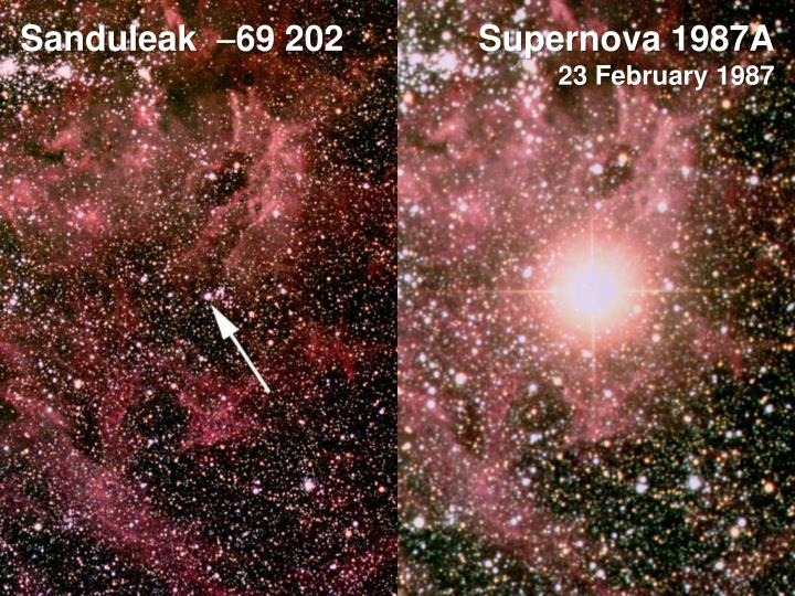 SN 1987A was a peculiar type II supernova in the Large Magellanic Cloud a dwarf galaxy satellite of the Milky Way It occurred approximately 514 kiloparsecs