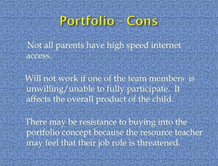 Portfolio - Cons