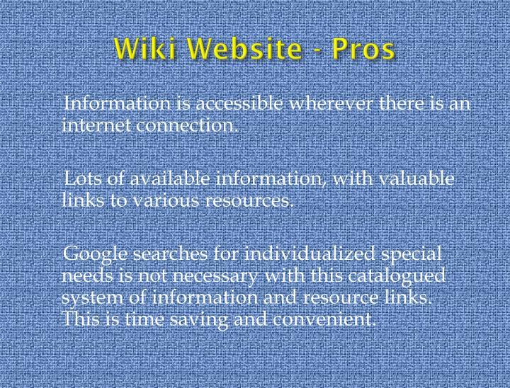 Wiki Website - Pros
