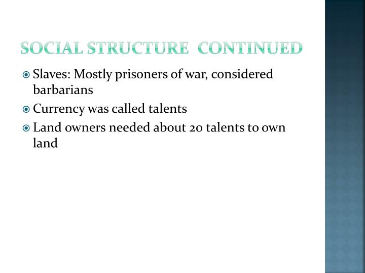 Social structure  continued