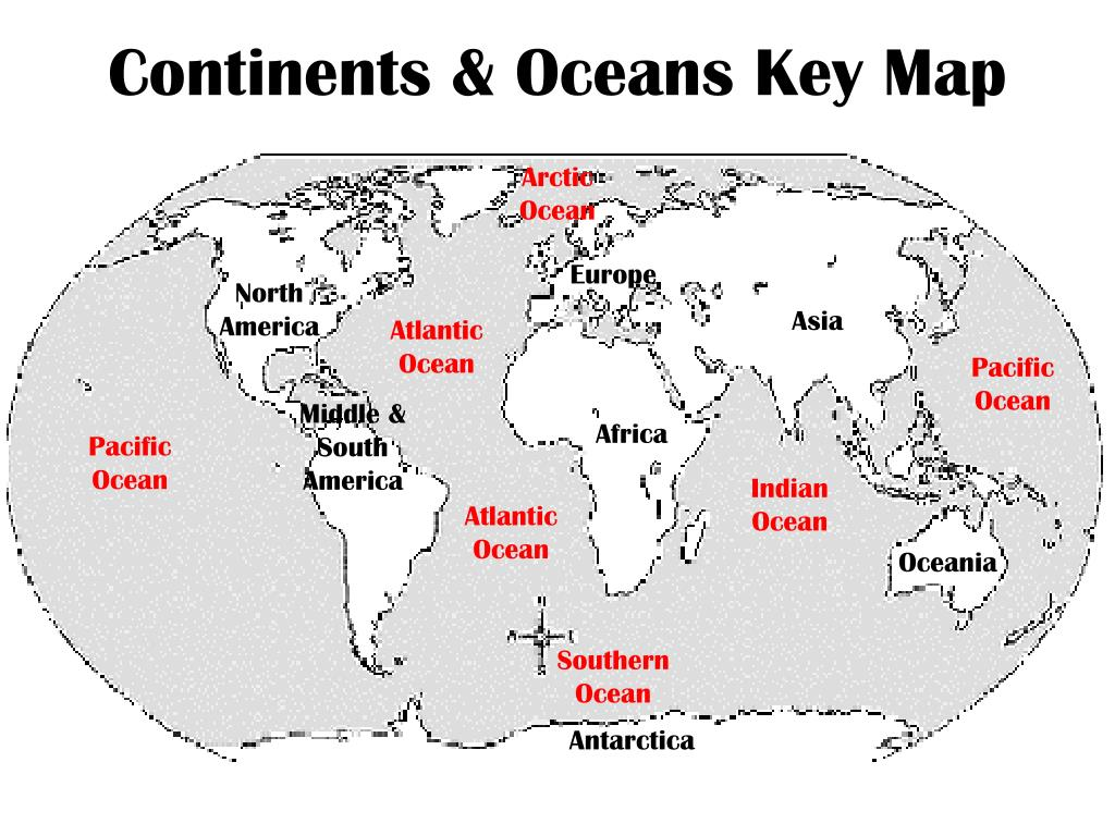 PPT - Continents & Oceans Key Map PowerPoint Presentation ...