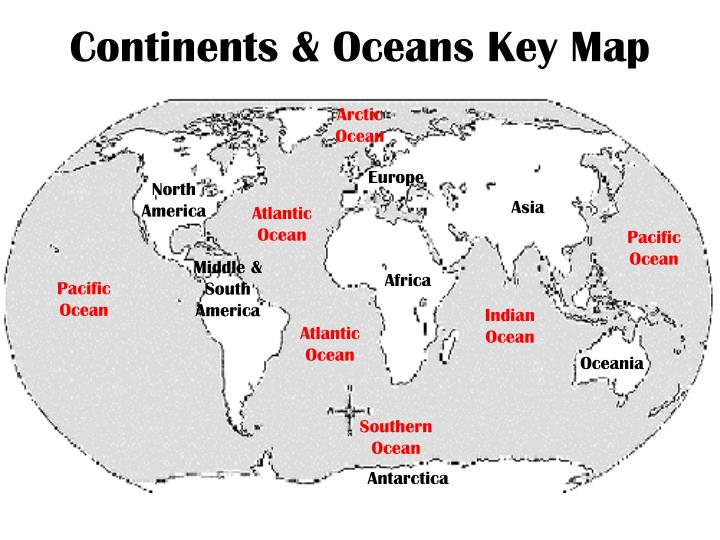 PPT - Continents & Oceans Key Map PowerPoint Presentation - ID:2840043