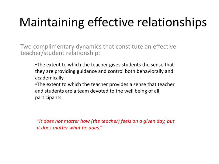 maintaining effective relationships n.