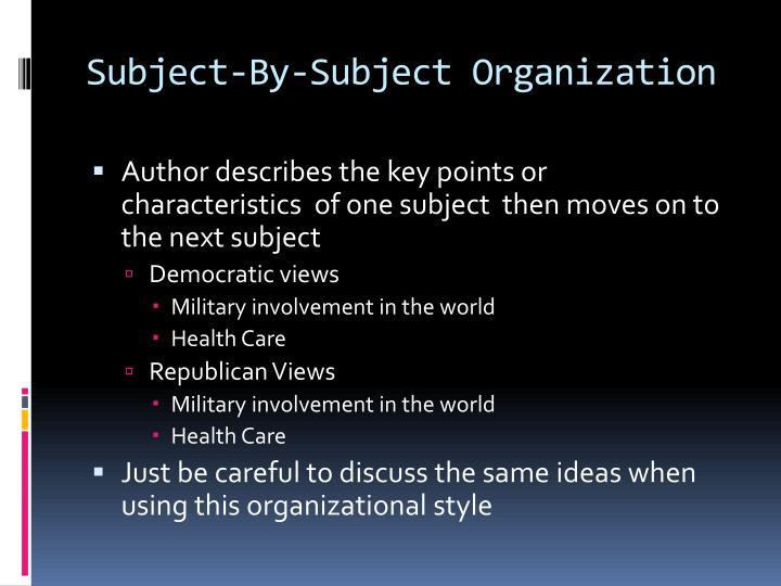 Subject-By-Subject Organization