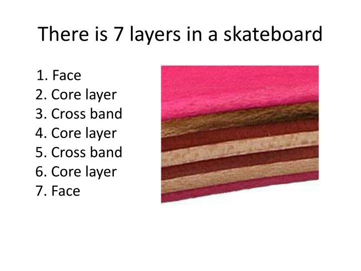 There is 7 layers in a skateboard