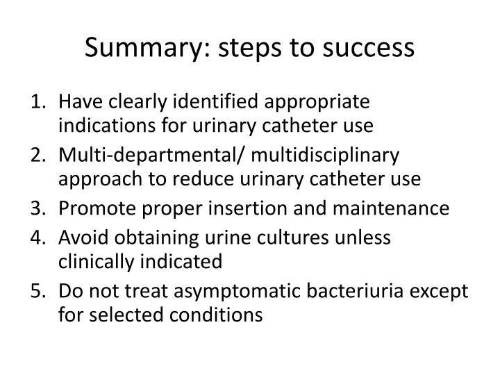 Summary: steps to success