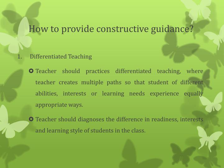 How to provide constructive guidance
