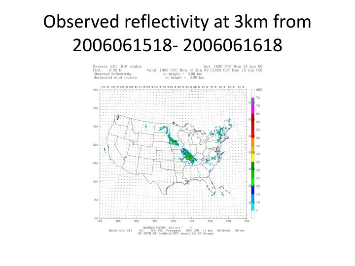 Observed reflectivity at 3km from 2006061518- 2006061618