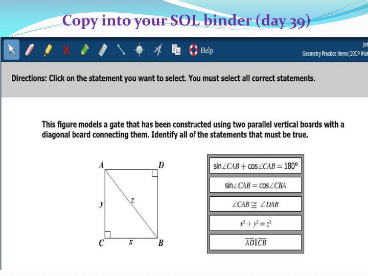 Copy into your SOL binder (day 39)