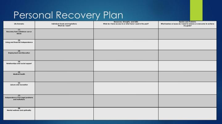 Personal Recovery Plan