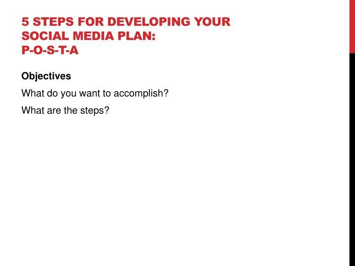 5 Steps for developing your social media plan: