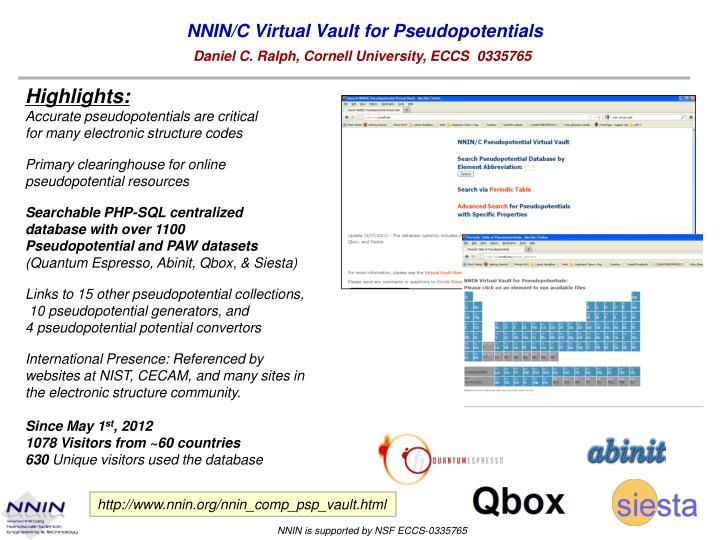 PPT - NNIN/C Virtual Vault for Pseudopotentials PowerPoint