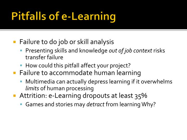 Pitfalls of e-Learning