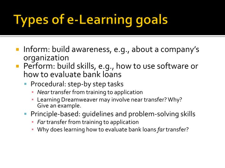 Types of e-Learning goals